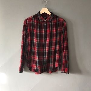 madewell plaid button down top